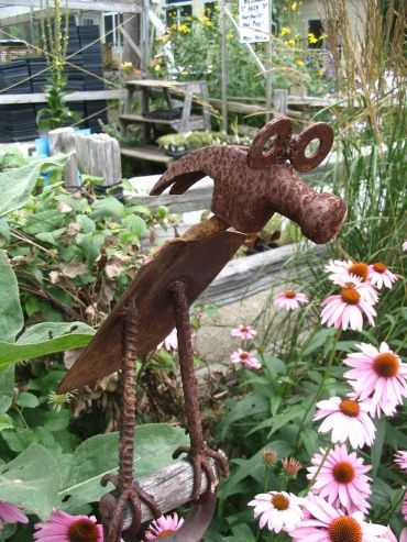 Garden tool art made from rusty