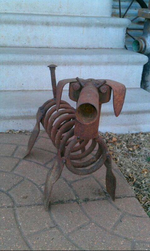 Junk yard dog scrap metal art