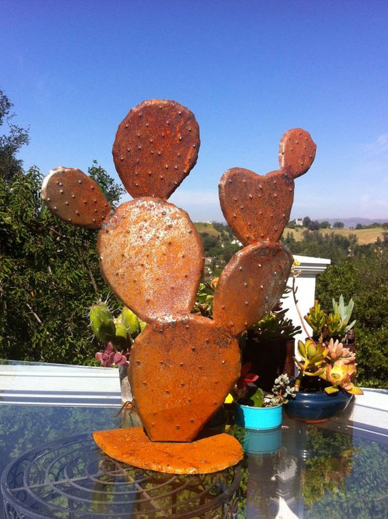 Nopal Steel Cactuses Unique Garden Art Metal