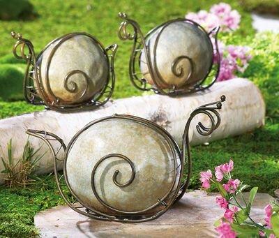 Stone & Metal Snail Garden Sculpture