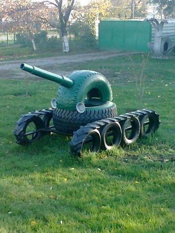 tank metal garden art