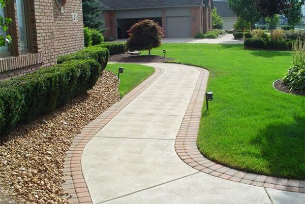 Concrete Walkway with Brick Edging