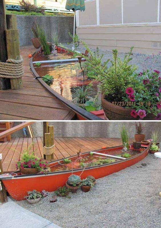 Boat backyard pond