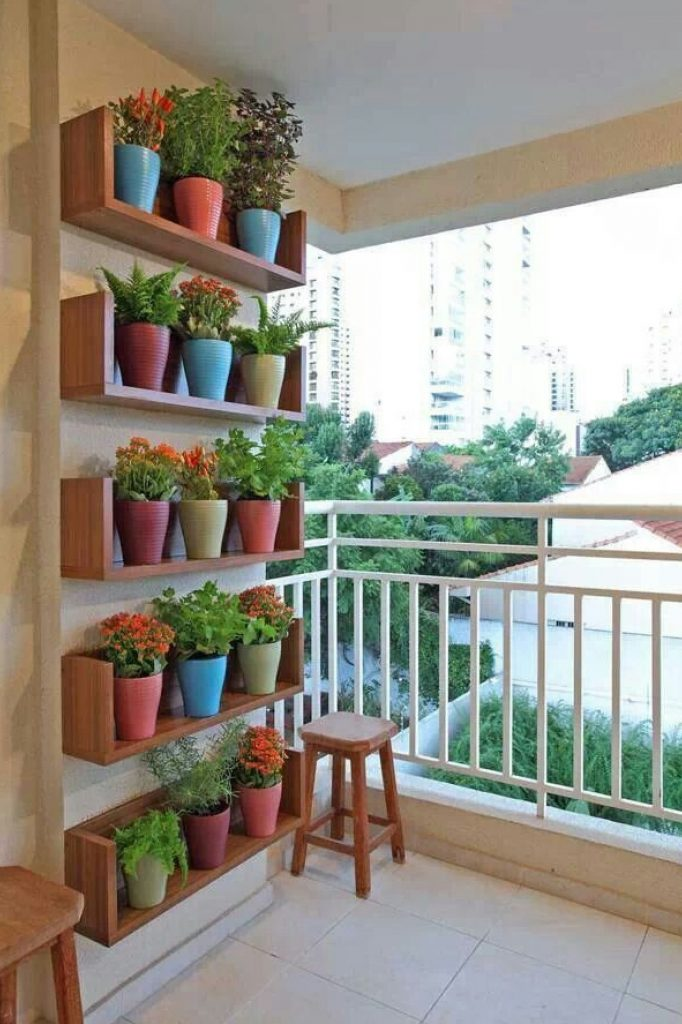 Shelved balcony garden idea