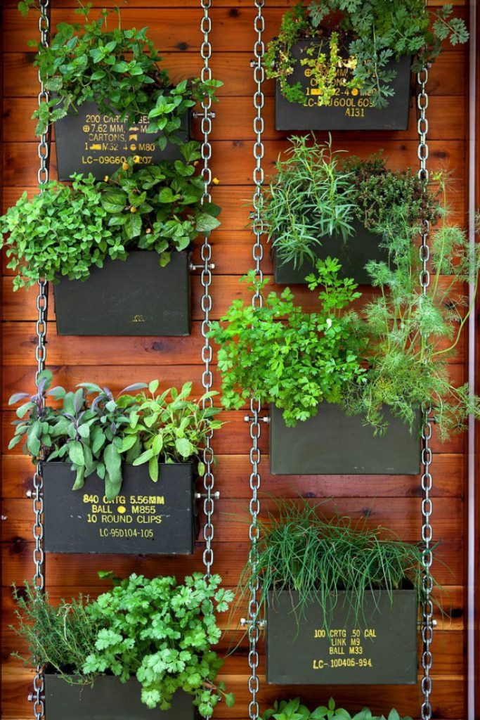 Ammunition boxes balcony garden idea