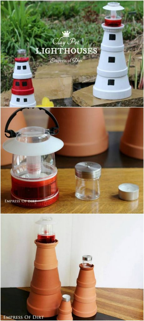 DIY Clay Pot Lighthouse Lights