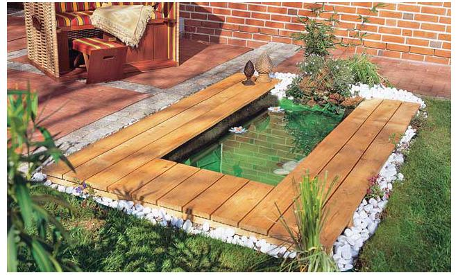 Wooden backyard pond