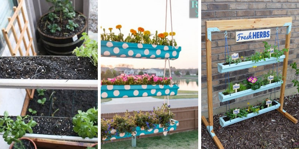12 Astonishing DIY vertical Rain Gutter Gardens