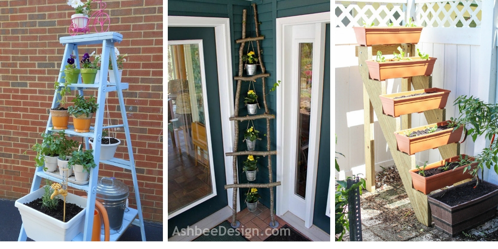 17 wonderful vertical ladder planter ideas